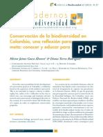 Conservación de la biodiversidad en Colombia, una reflexión para una meta