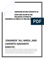 Criticism Of The Concepts Of Kufr and Kafir in the Sectarian System of Enginner Ali Mirza Of Jhelum