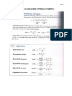 Hyperbolic and Inverse Hyperbolic Functions Note and Example