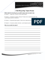 Recycling Open House Comment Sheet