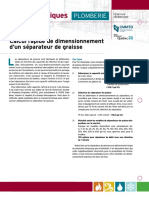 Calcul Dimensionnement Separateur de Graisse