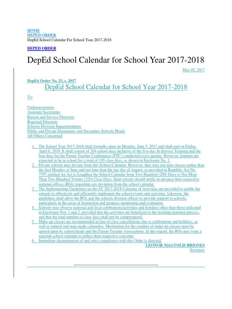 deped school calendar 2017 2018 educational assessment teachers