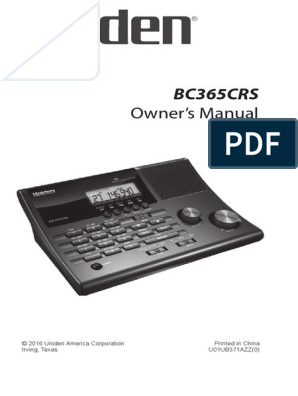 Uniden Bearcat Scanner BC365CRS Owners Manual | Very High