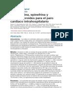 Investigación Original RCP Adrenalina Corticoides Vasopresina