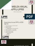 Asamblea Anual 2018 - APPU UPRB