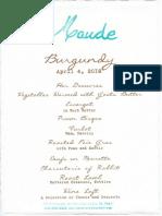 Maude Burgundy Menu