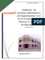Auditoria de Sistema Cooperativa de Ahorros y Prestamos de Bayaguana