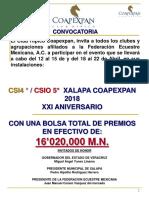 Convocatoria CSI4 * / CSIO 5*  Primavera 2018    Coapexpan Xalapa México