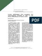 Bertrand Porot, Lecture Philologique d'Un Exemplaire Des Représentations d'Amadis de Lully