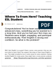 Where to From Here? Teaching the Advanced ESL Student