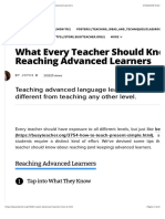 What Every Teacher Should Know About Reaching Advanced Learners