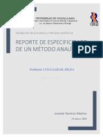 Reporte de especificidad de un método Analítico