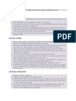 Guidelines for Filling-Up the Post Graduate Application Form