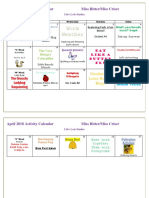April 2018 Activity Calendar