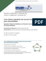 Guía Clínica Española Del Acceso Vascular - 2017