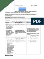 in process critique lesson plan