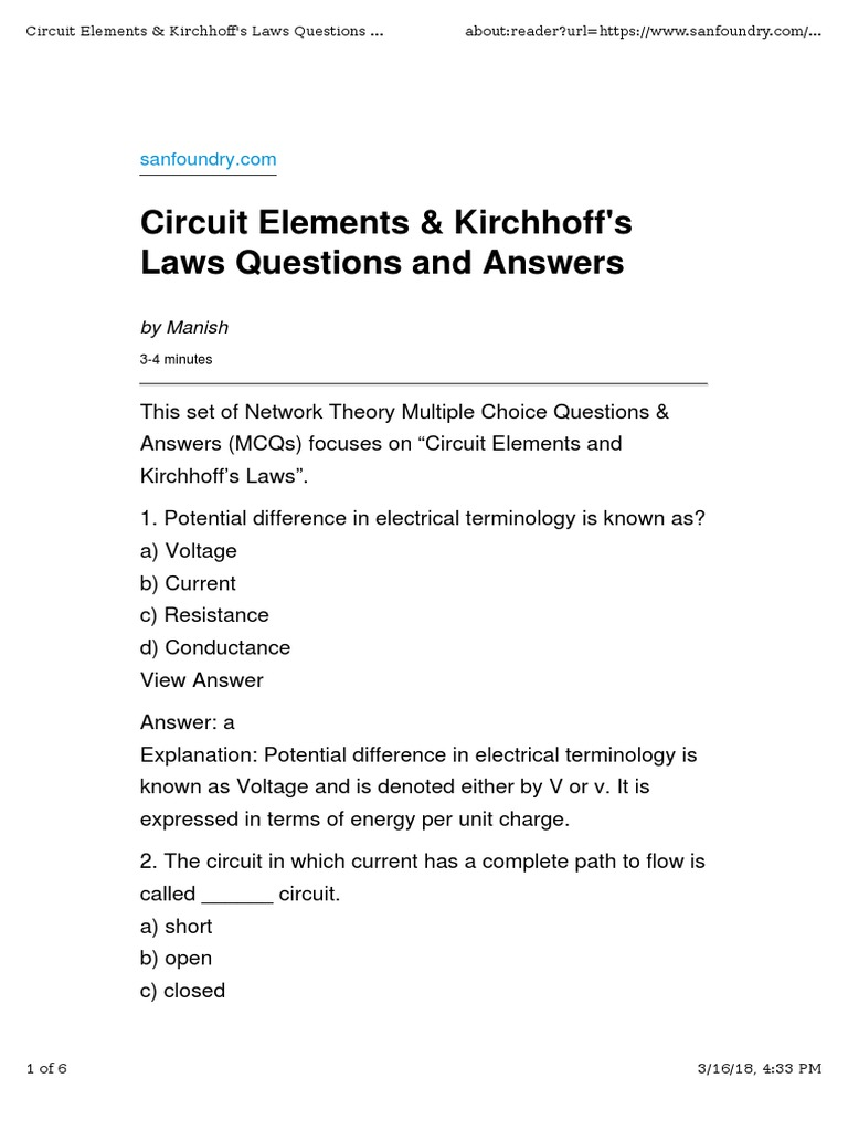1  Questions & Answers on Circuit Elements and Kirchhoff's