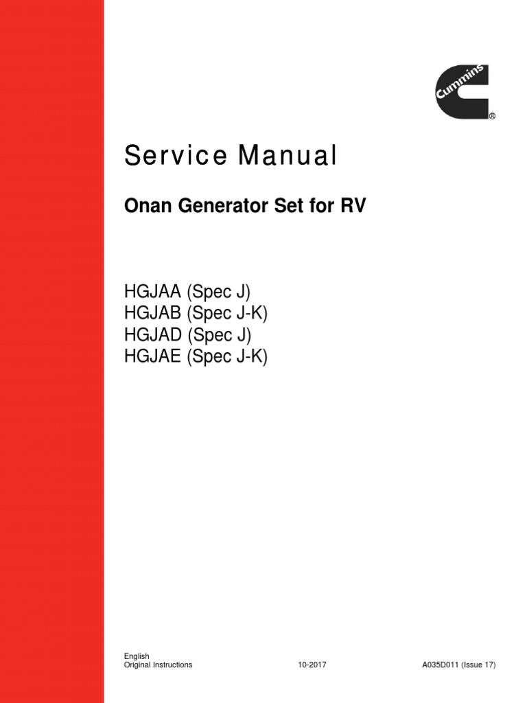 Service ManualHGJAA-E, Generator Set 5.5-7.0 KW Nov 29, 2017 | Fuel  Injection | Ignition System