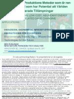 Glömda Energi Produktions Metoder som är ren och låg Kostnad som har Potential att Världen Förändras Relaterade Tillämpningar/  Forgotten, Low Cost, Abundant Energy Technologies That Can Change the Future World.