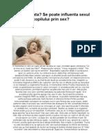 Baiat Sau Fata- Se Poate Influenta Sexul Copilului Prin Sex.