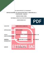 INFORME DE PRACTICAS PROFESIONALES EN EL LABORATORIO DE MECÁNICA DE SUELOS ESSENOR.SAC - PIURA