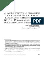 ¿HA SIDO EFECTIVA LA PROMOCIÓN DE SOLUCIONES ENERGÉTICAS EN LAS ZONAS NO INTERCONECTADAs (ZNI) EN COLOMBIA?