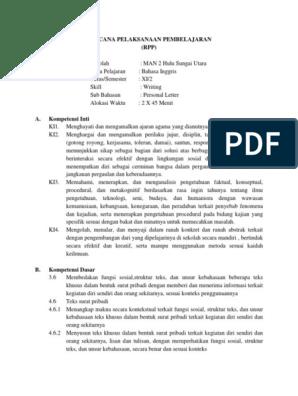 Rpp Kelas Xi Personal Letter New