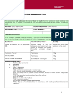 Coshh Assessment Form