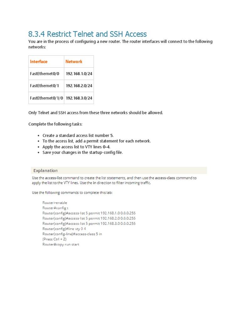 8 3 4 Restrict Telnet and SSH Access docx