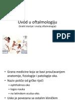 Uvod u Oftalmologiju