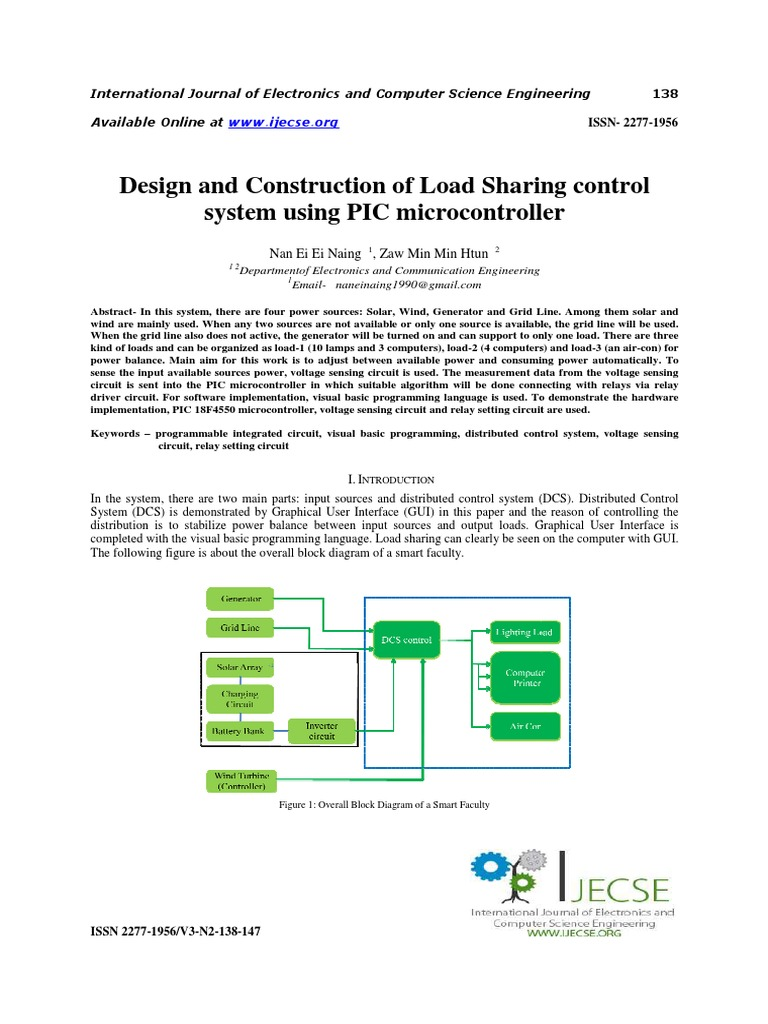Design And Construction Of Load Sharing Control System Using Pic Microcontroller Pic Microcontroller Relay