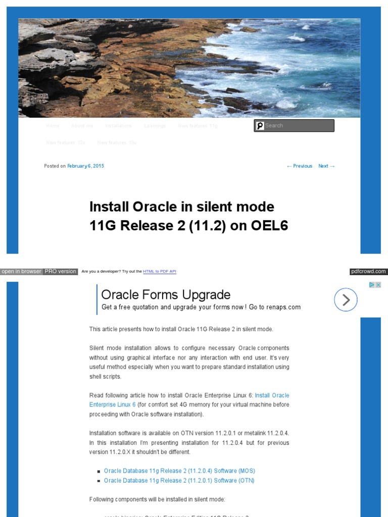 Dbaora Com Install Oracle in Silent Mode 11g Release 2 11 2 | Oracle