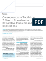 Dental Update 2010. Consequences of Tooth Loss 2. Dentist Considerations Restorative Problems and Implications