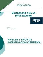Clase 01 Niveles y Tipos de Investigacion