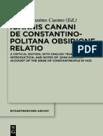 Ioannis Canani de Constantinopolitana Obsidione Relatio