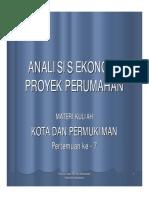 Analisis Ekonomi Proyek Perumahan