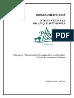 Programme Detudes Mec Auto - 25 Aout