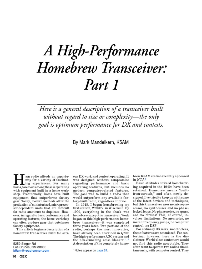 A High-Performance Homebrew Transceiver | Radio | Amplifier