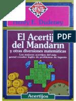 El Acertijo Del Mandarín y Otras Diversiones Matemáticas - Henry Dudeney