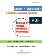 Research Updates - Homeopathy, Volume 7 Issue 1