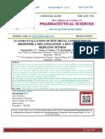 IN VITRO EVALUATION OF FEW METAL COMPOUNDS ON DROSOPHILA MELANOGASTER