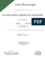 La Educacion Superior en Venezuela