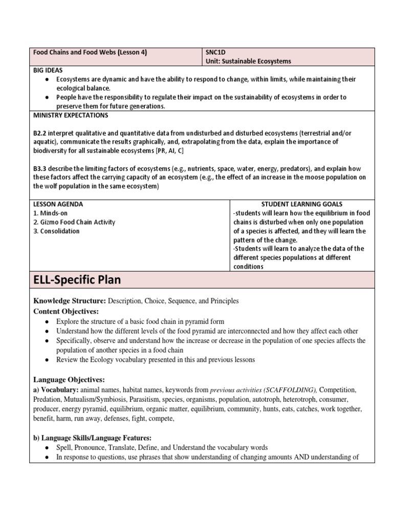 Worksheets Ecology Vocabulary Worksheet lesson 4 ecosystem predation