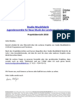 Studio Musikfabrik Projekte Ausschreibungen 2018