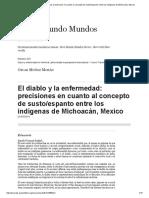 El Diablo y La Enfermedad_ Precisiones en Cuanto Al Concepto de Susto_espanto Entre Los Indígenas de Michoacán, Mexico