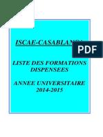 Liste Des Formations Dispensées Iscae