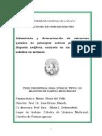 Aislamiento y determinación de estructura química de principios activos presentes en Eugenia uniflora.