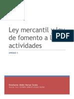 La ley mercantil y Ley de fomento a las actividades