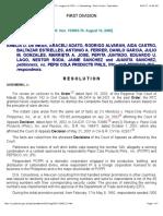 De Mesa vs Pepsi Cola Products Phils Inc _ 153063-70 _ August 19, 2005 _ J. Quisumbing _ First Division _ Resolution