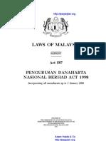 Act 587 Pengurusan Danaharta Nasional Berhad Act 1998